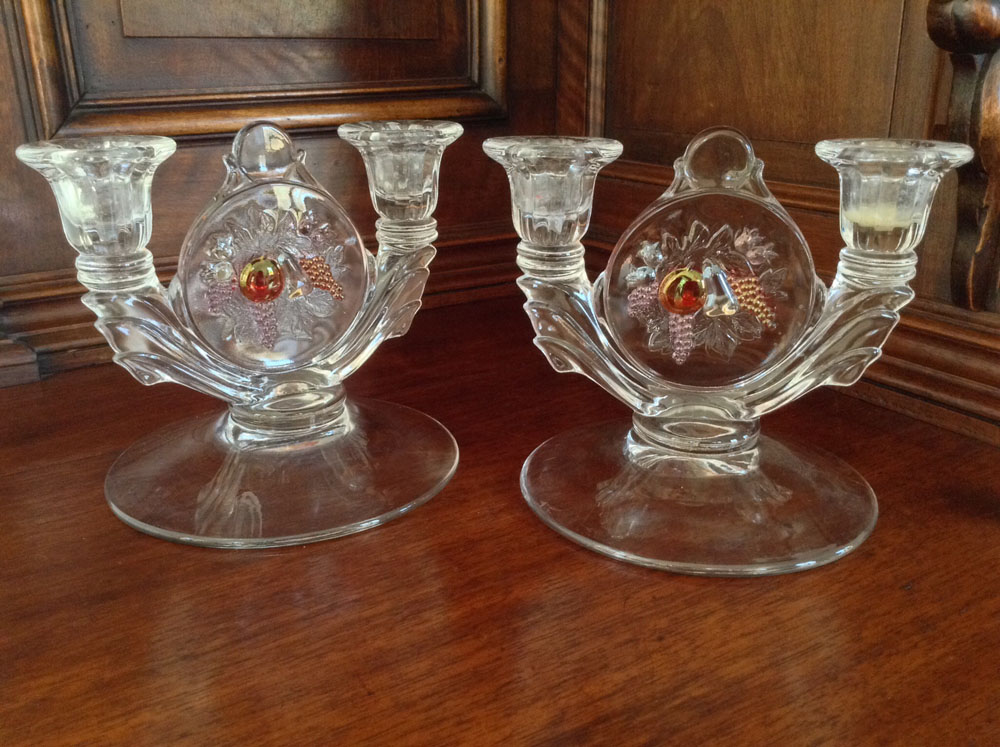 Glass Fruit Motif Candlestick Holders, Set of 2