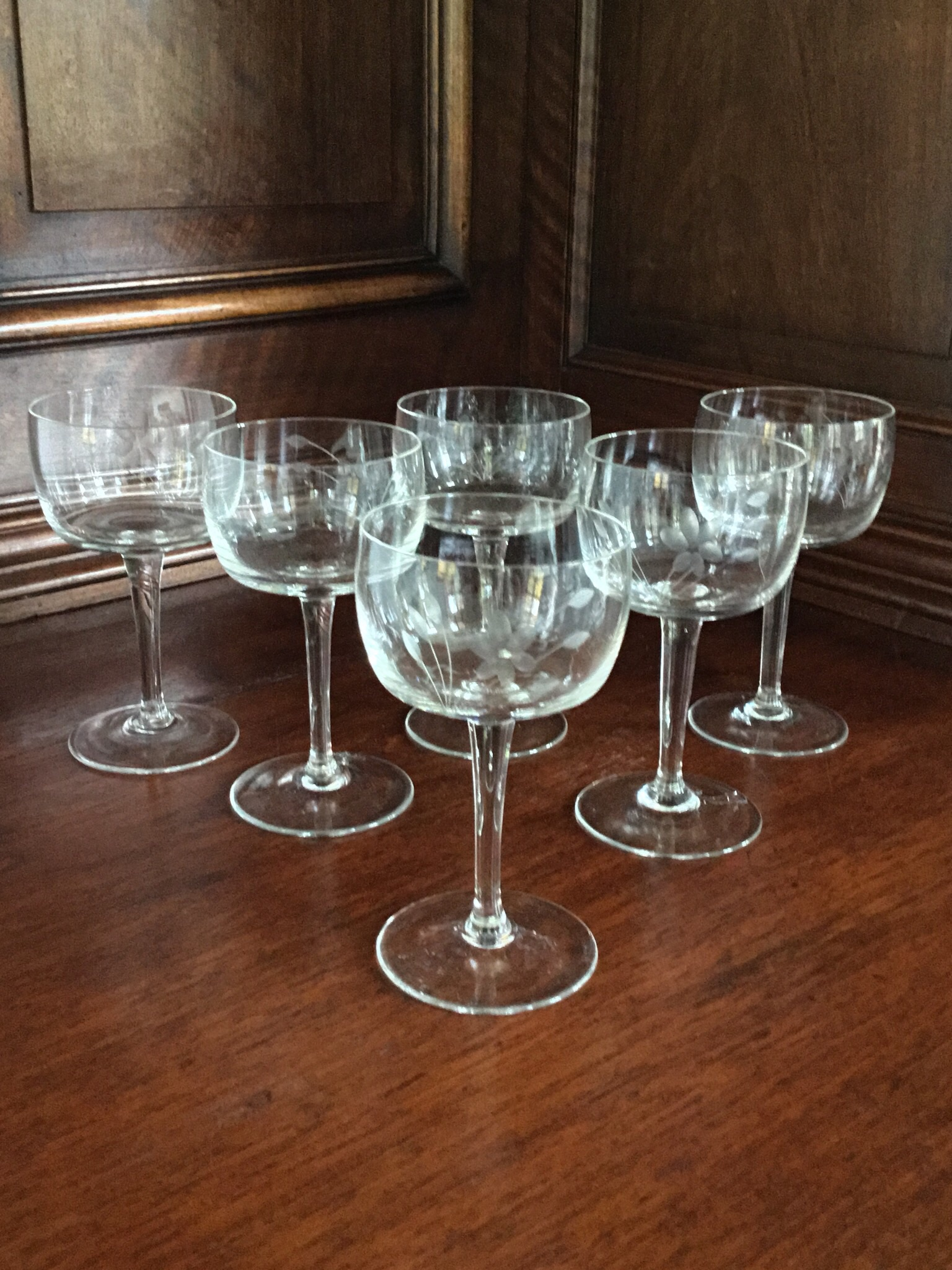 Vintage Etched Cordials, Set of 6