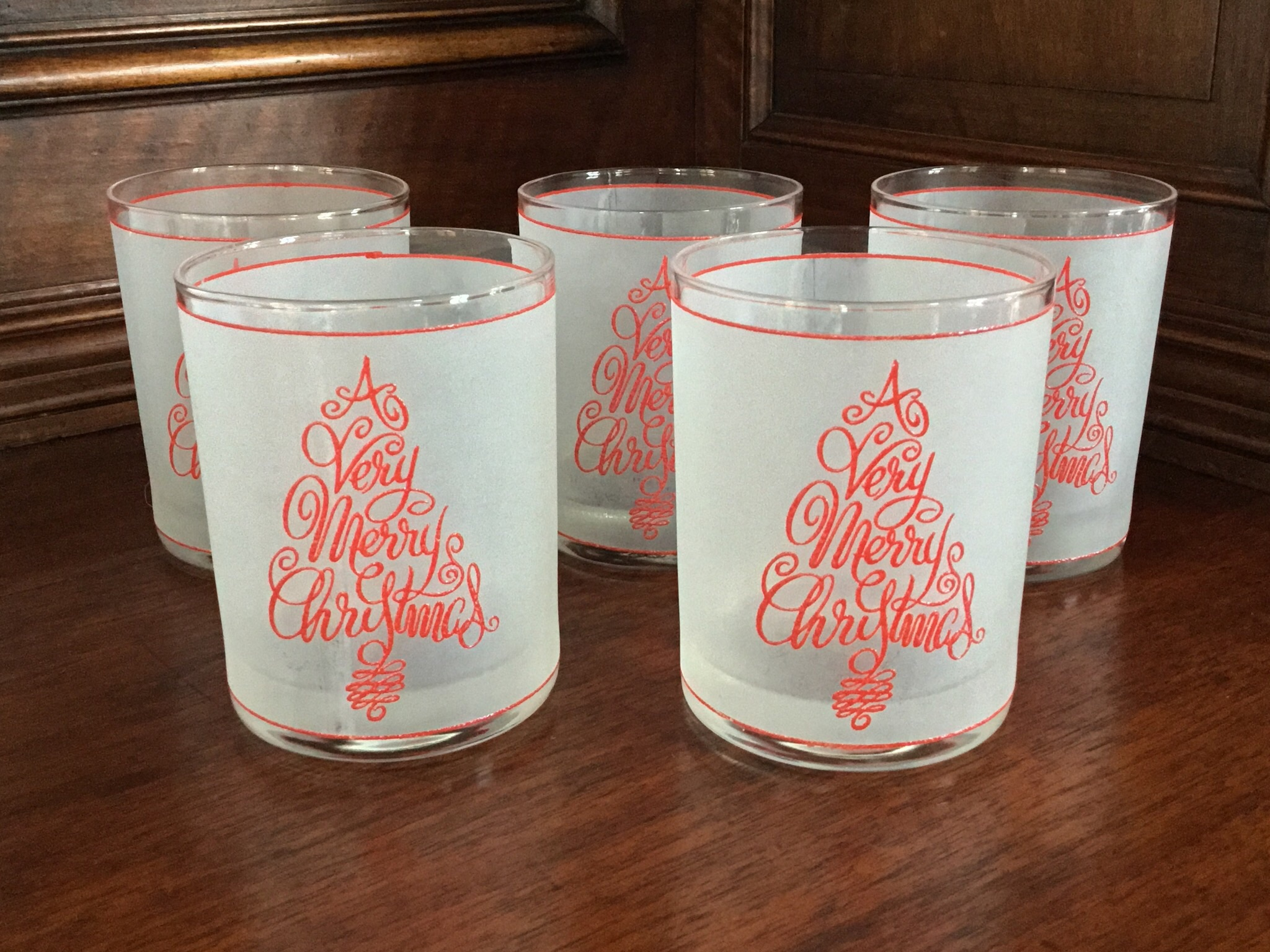 """A Very Merry Christmas"" Frosted Tumblers, Set of 5"