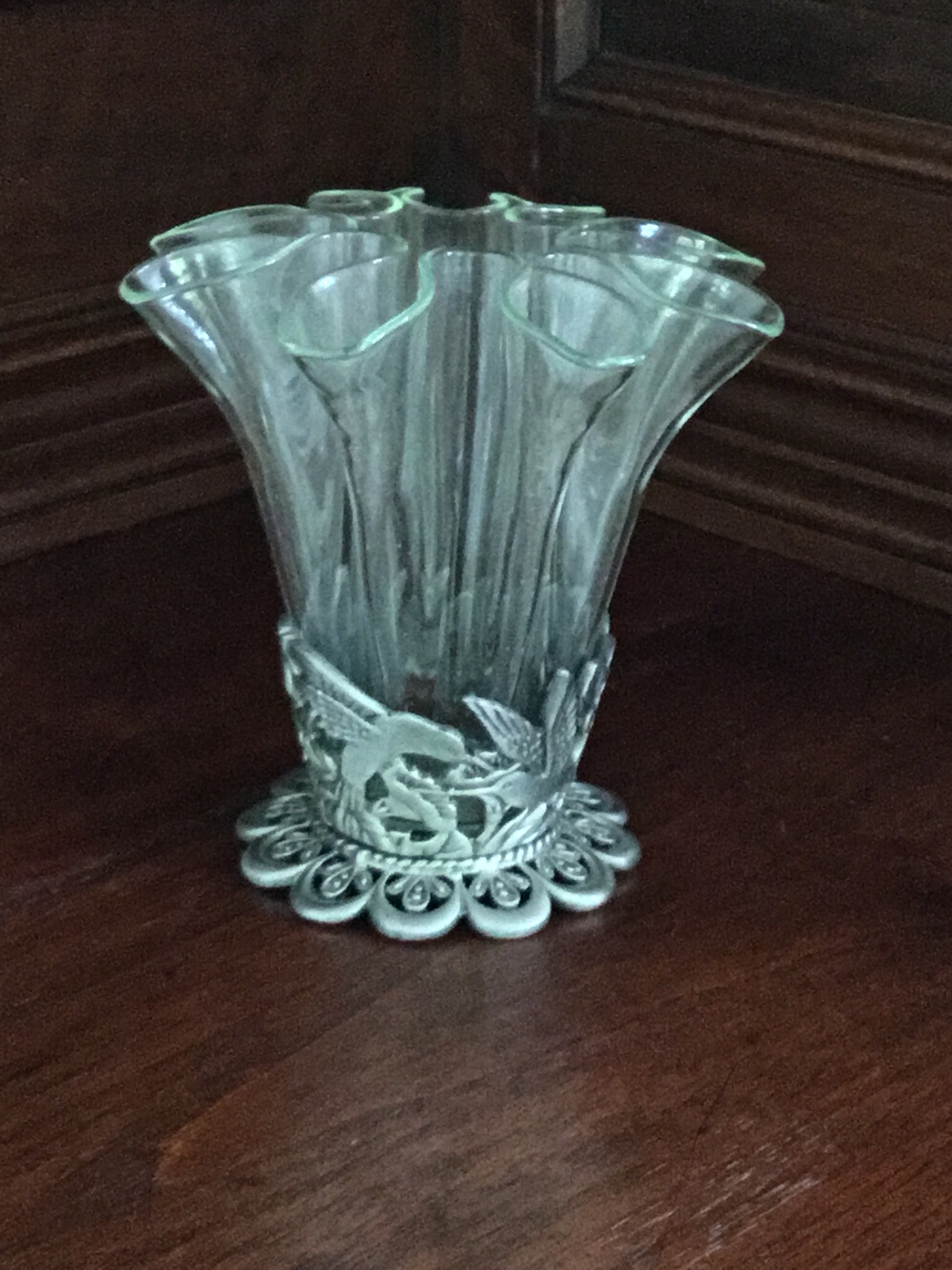Vase With Quot Hummingbird Quot Stand