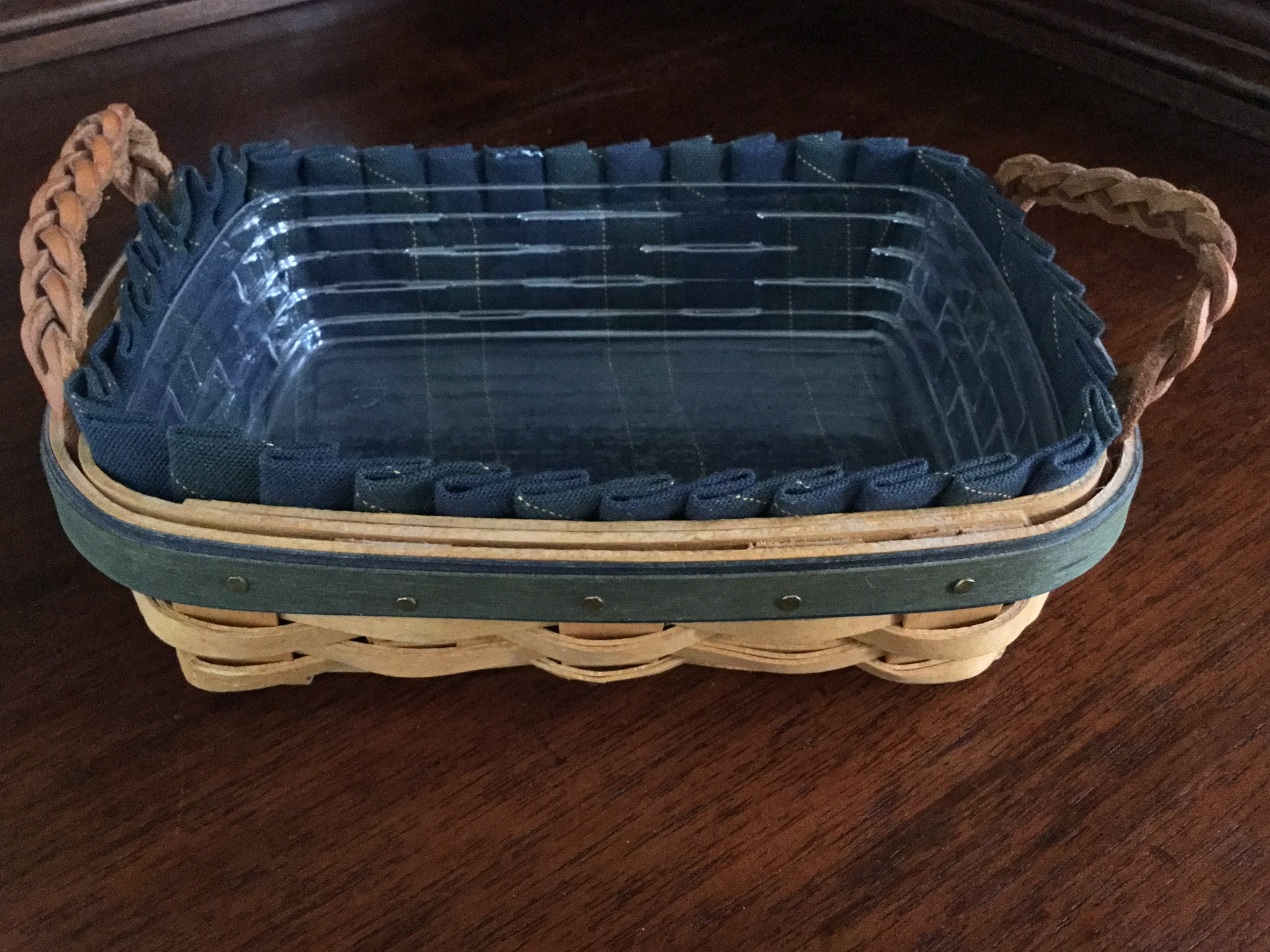 Longaberger 2002 Collectors Club Basket with Indigo Fabric Liner and Plastic Protector
