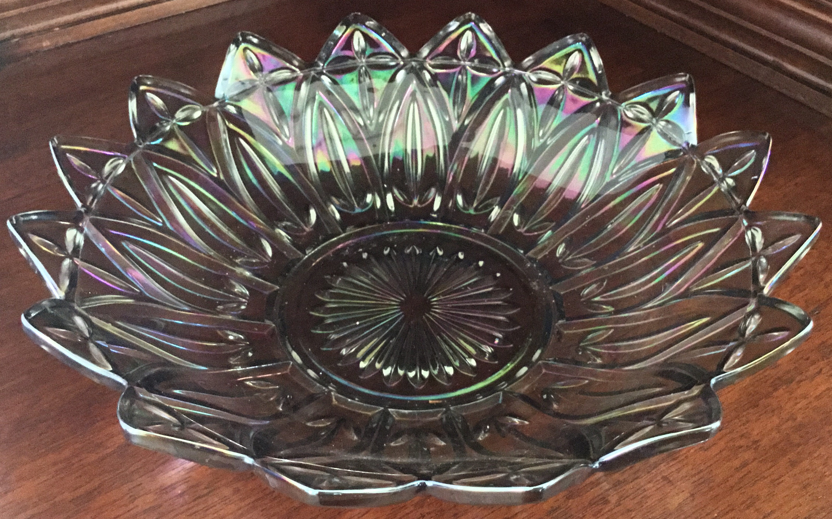 Purple Carnival Glass Shallow Bowl