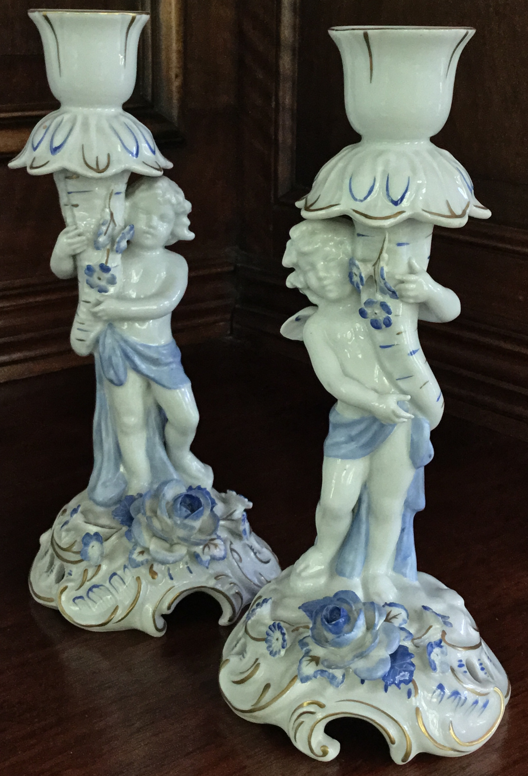 Schierholz Cherub Candlestick Holders, Set of 2