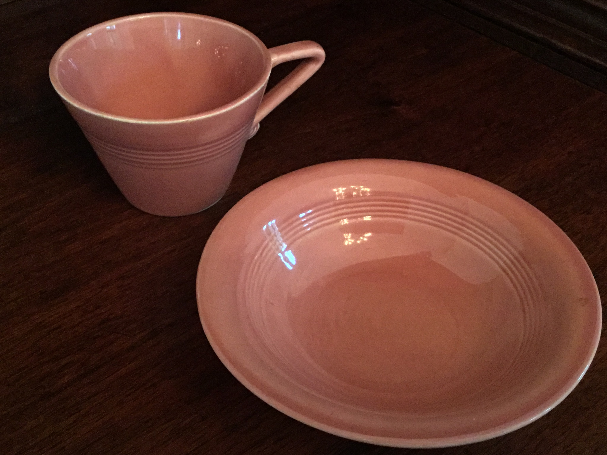 Vintage Fiestaware Dusty Pink Coffee Cup and Bowl