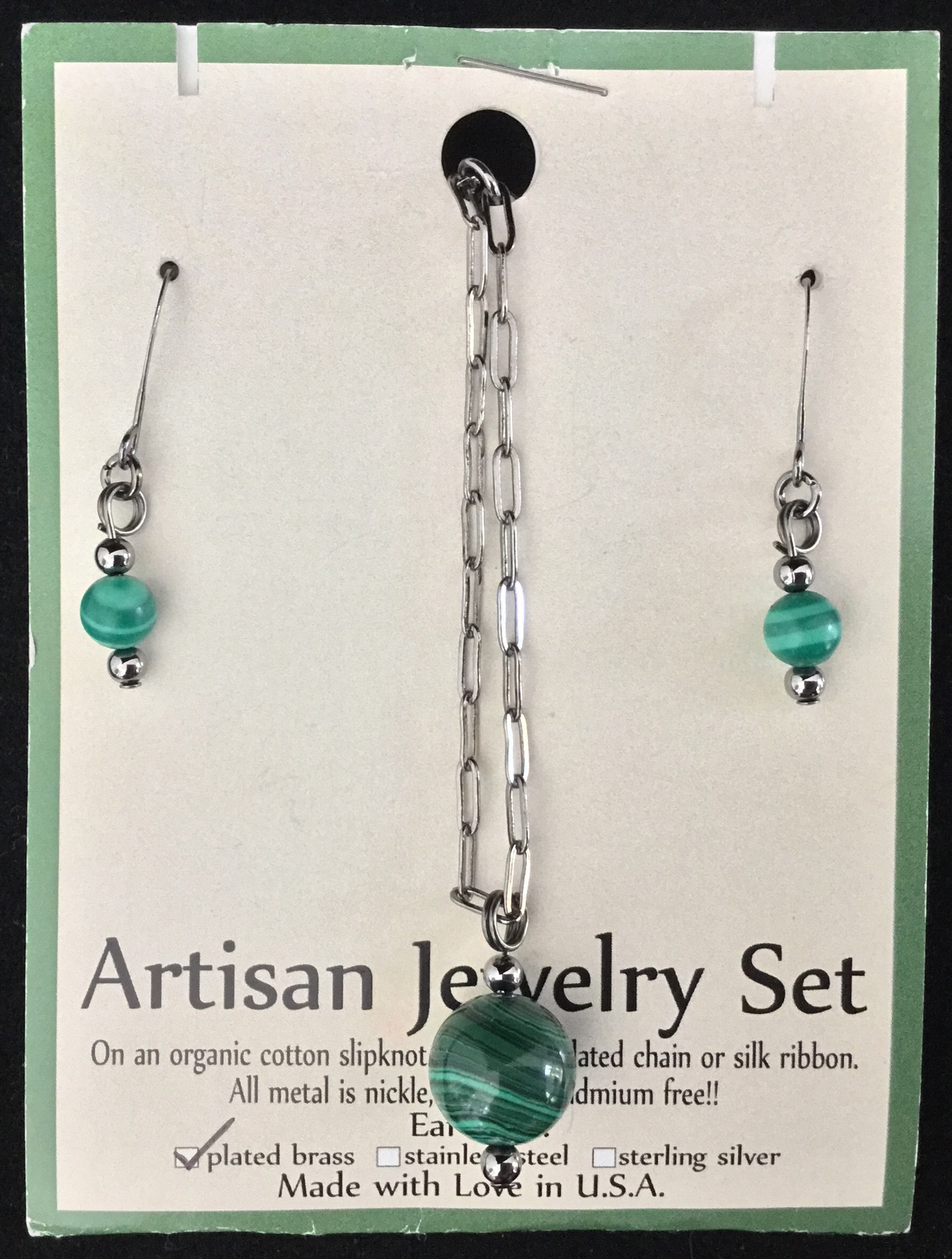 Artisan Jewelry Set, Malachite Necklace and Earrings