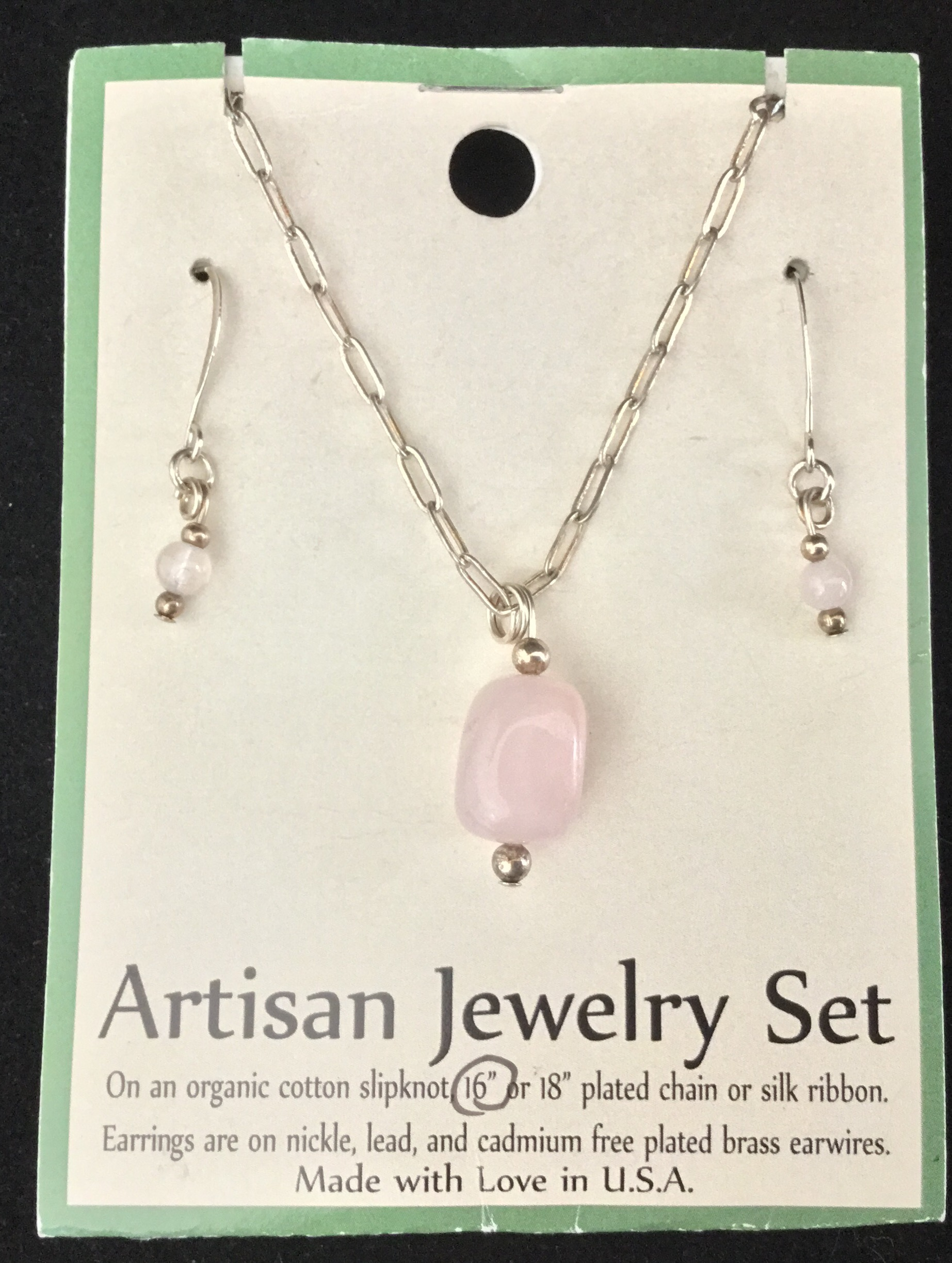 Artisan Jewelry Set, Rose Quartz Necklace and Earrings