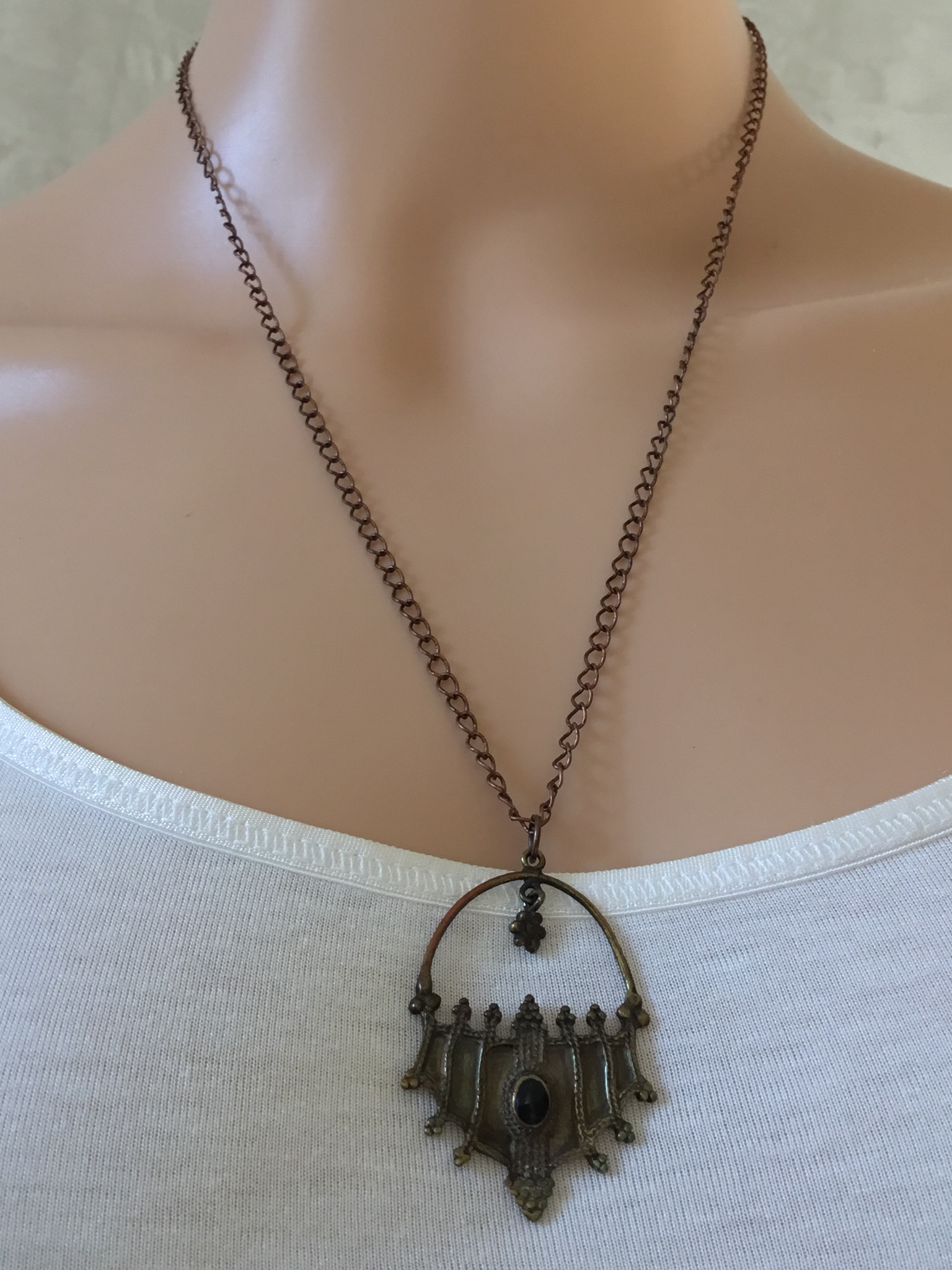 Bronze-Colored Pendant with Stone Necklace
