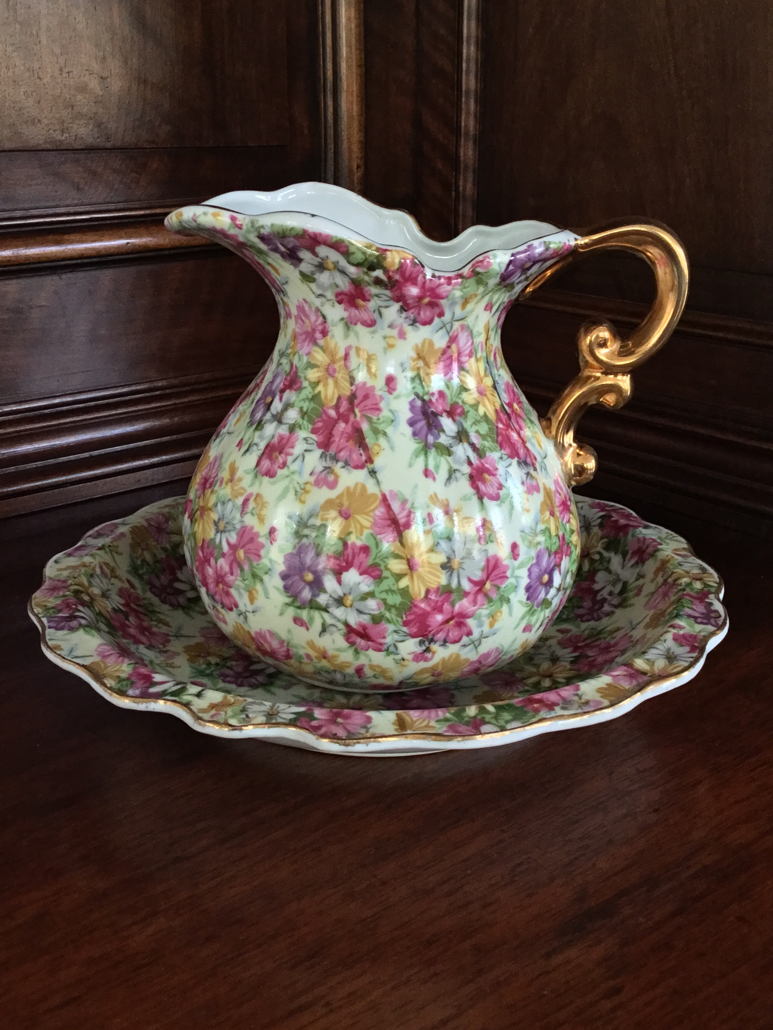 Royal Chintz Pitcher and Bowl