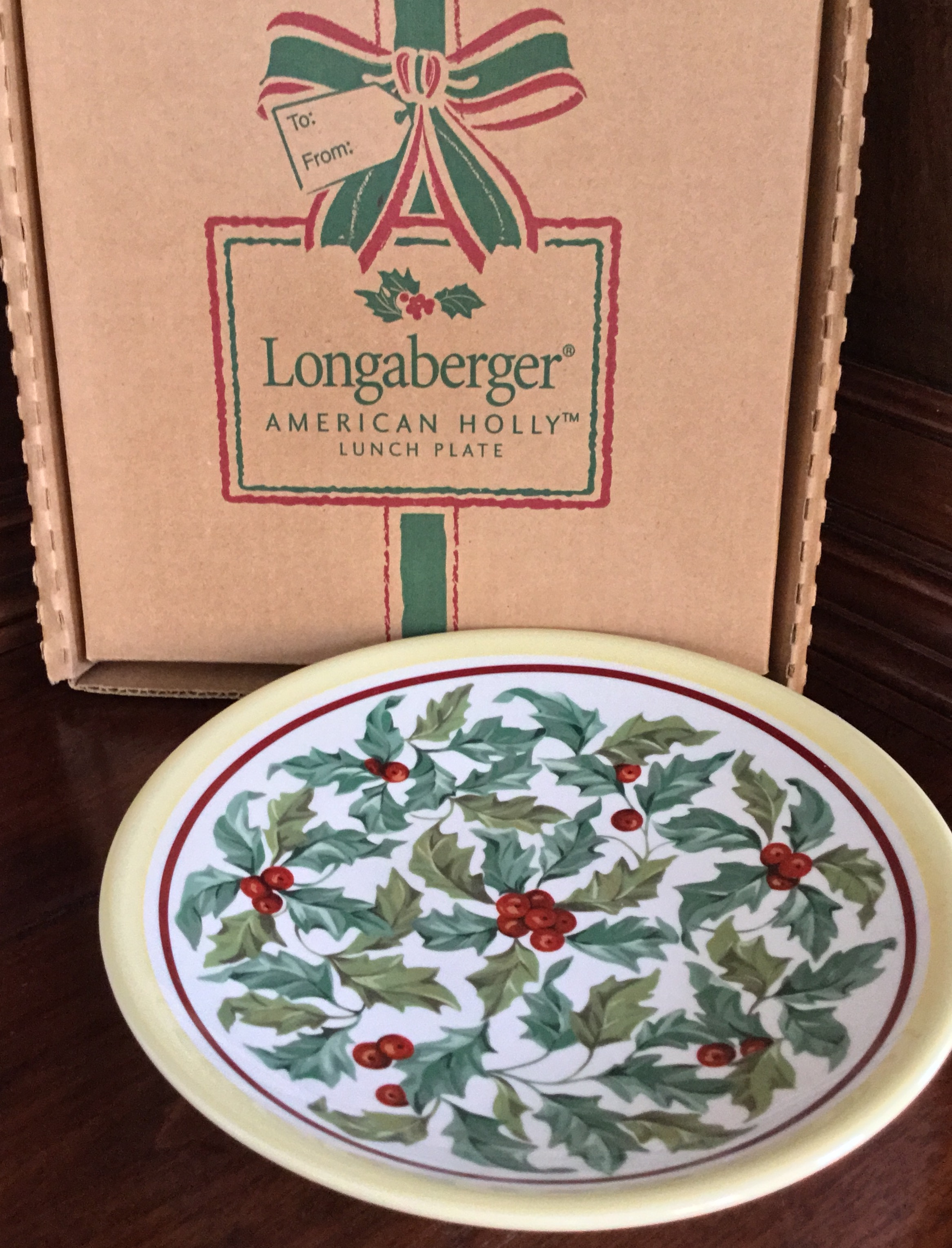 Longaberger American Holly Lunch Plate