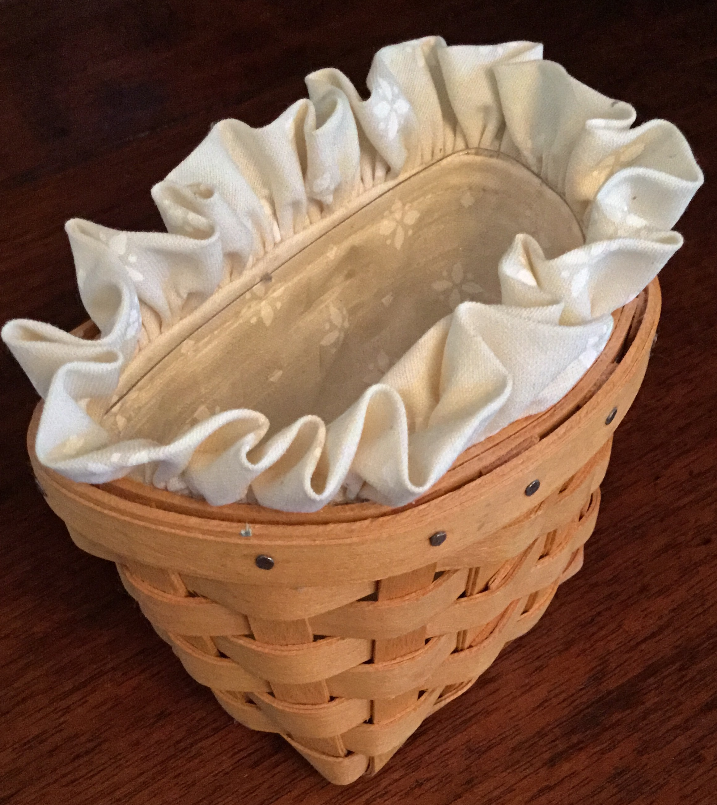 1998 Longaberger Small Wall Basket with Fabric Liner and Plastic Protector