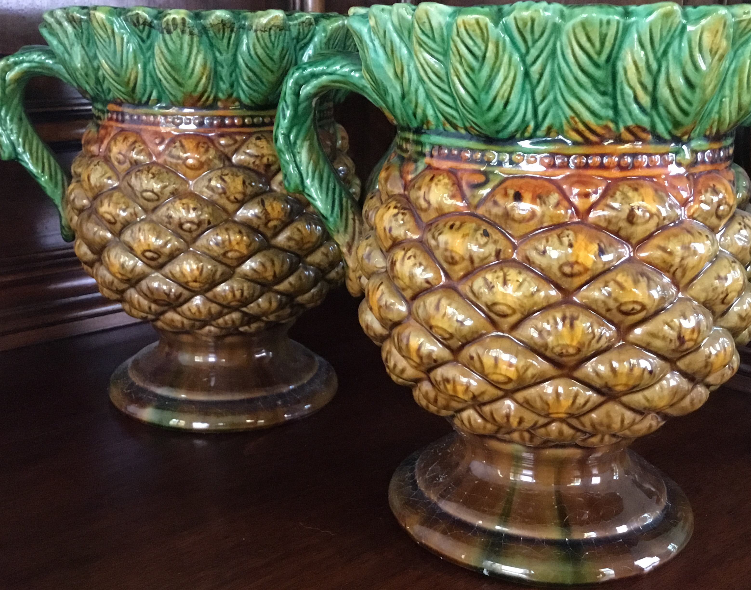 """Pineapple"" Planters, Set of 2"