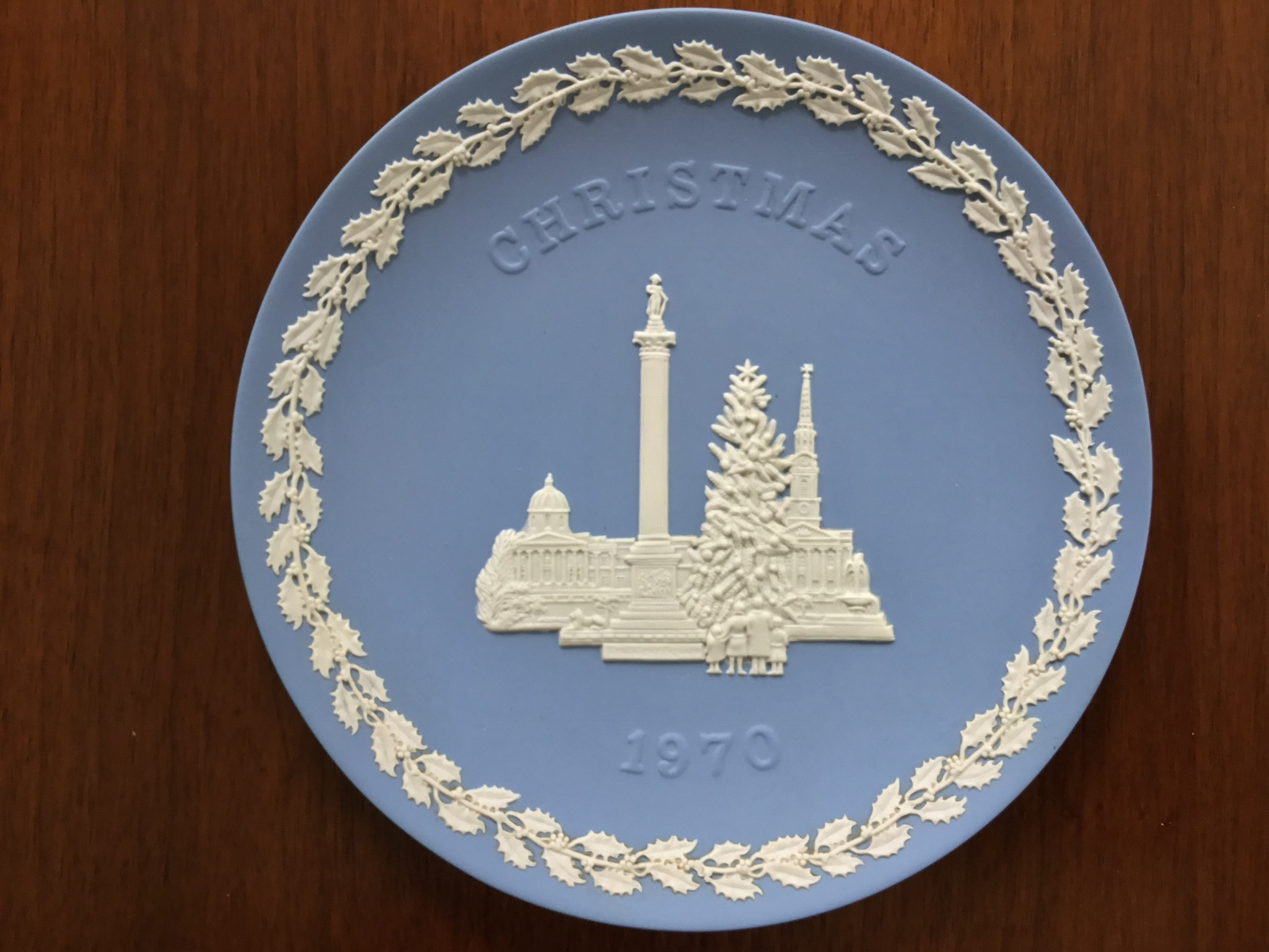 Wedgwood Blue Jasperware 1970 Christmas Plate