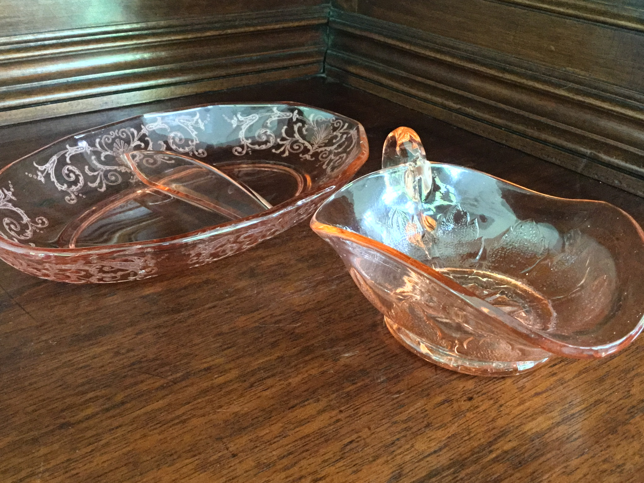 Pink Depression Glass Serving Pieces, Set of 2