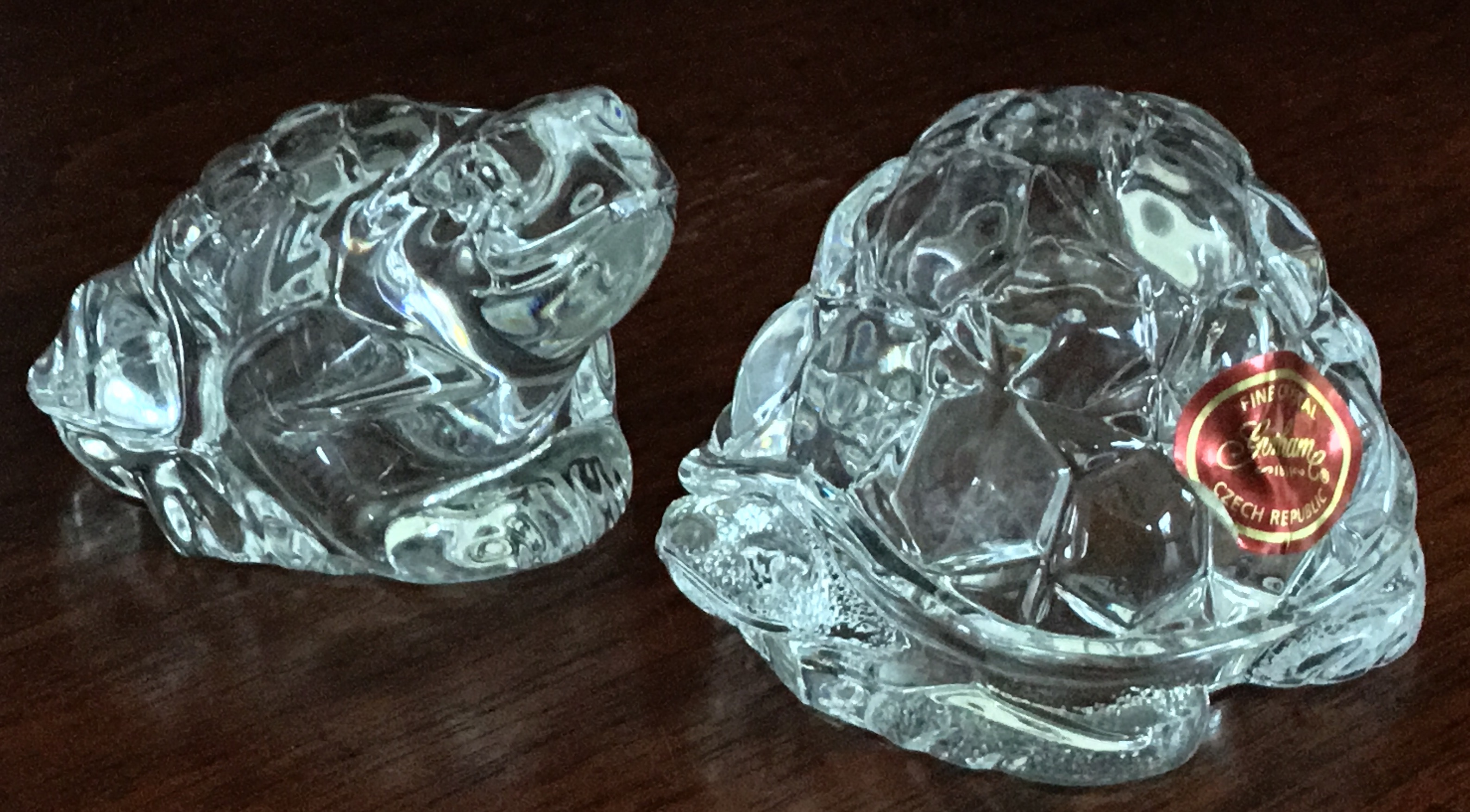 Gorham Crystal Frog and Turtle Salt and Pepper Shakers