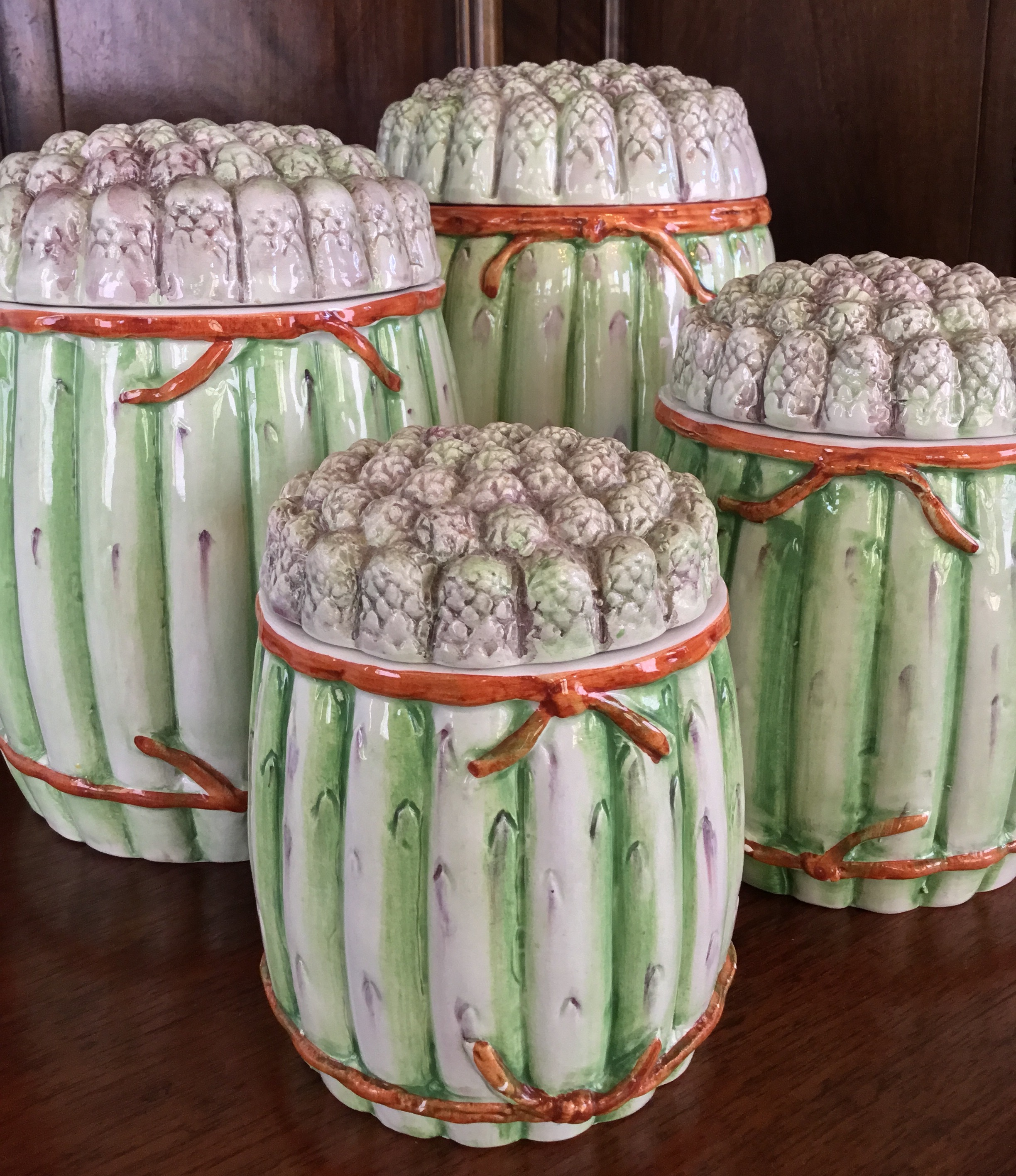 """""""Asparagus"""" Canisters, Set of 4"""