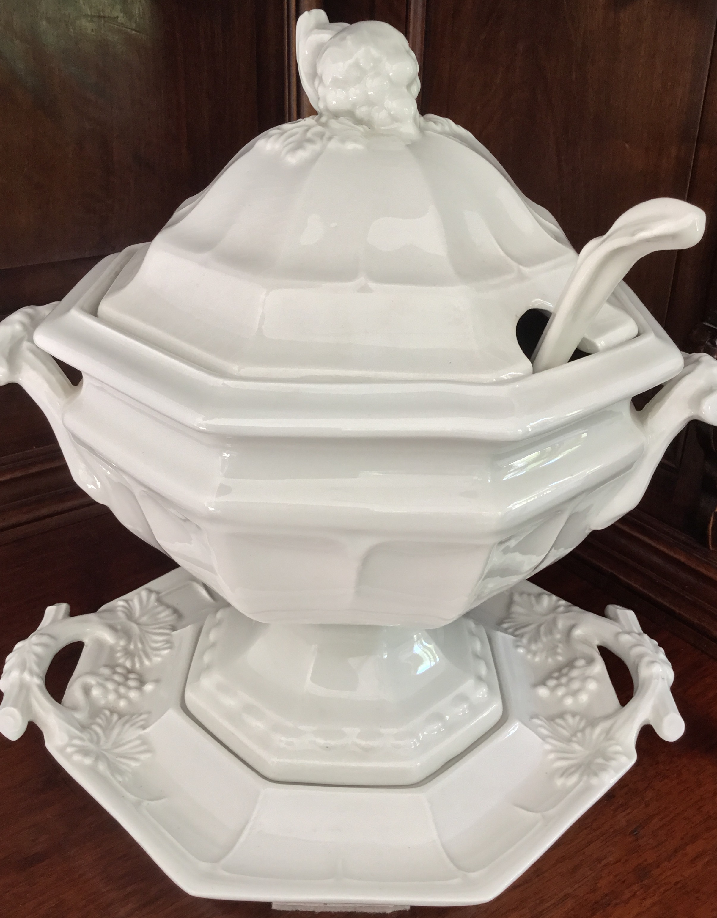 Red Cliff Ironstone Tureen, Ladle, and Stand