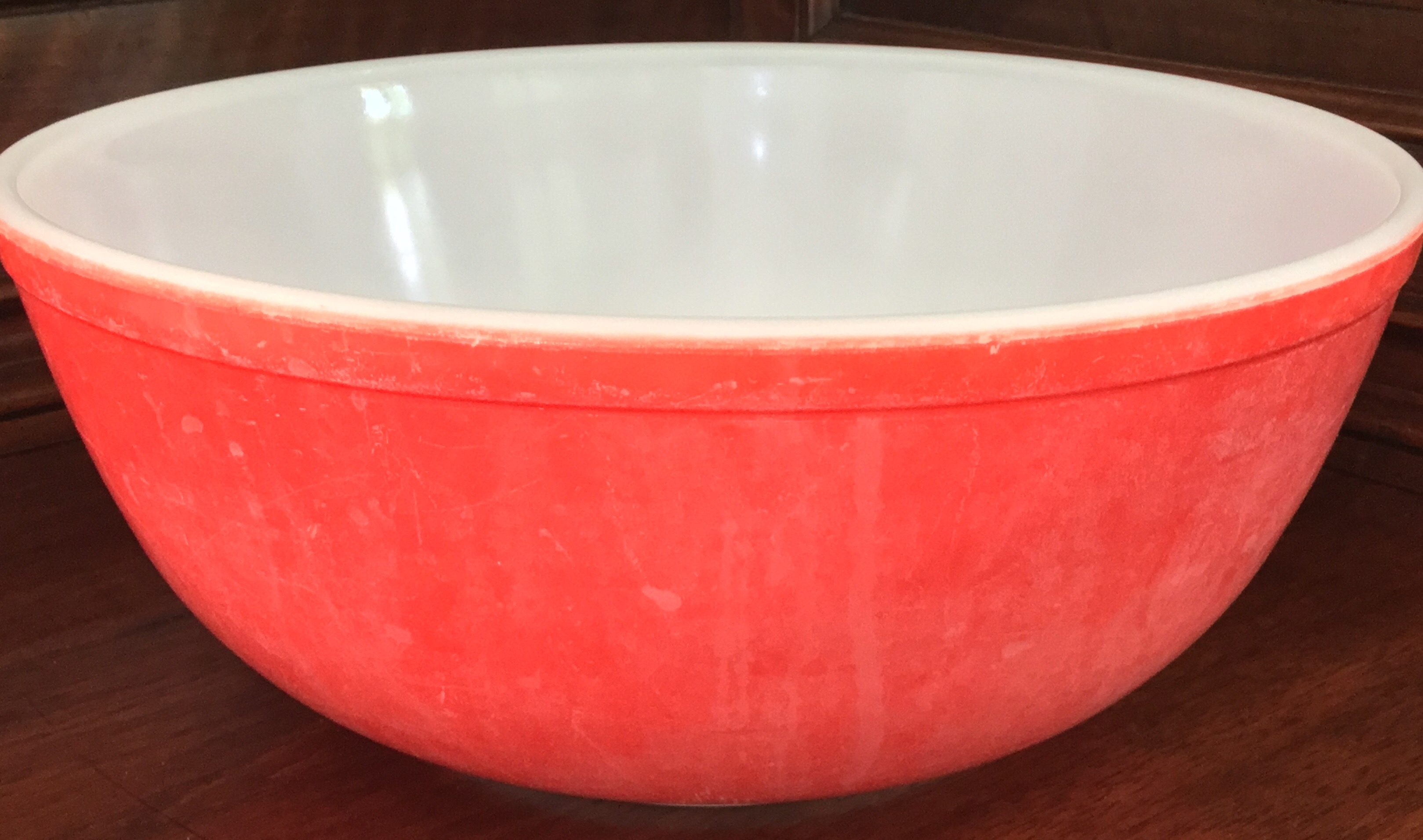 Large Red Pyrex Bowl