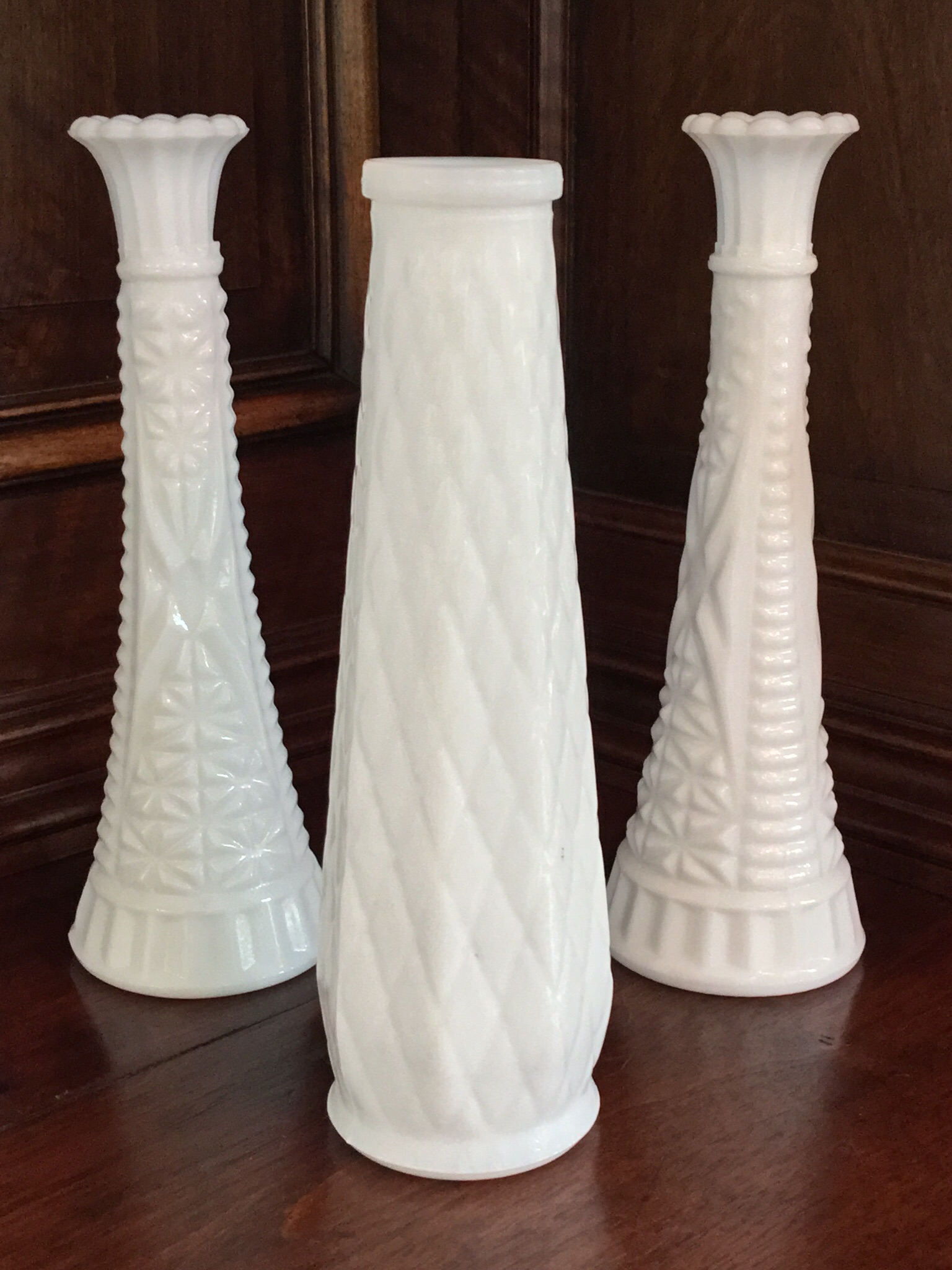 Milk Glass Vases Set Of 3