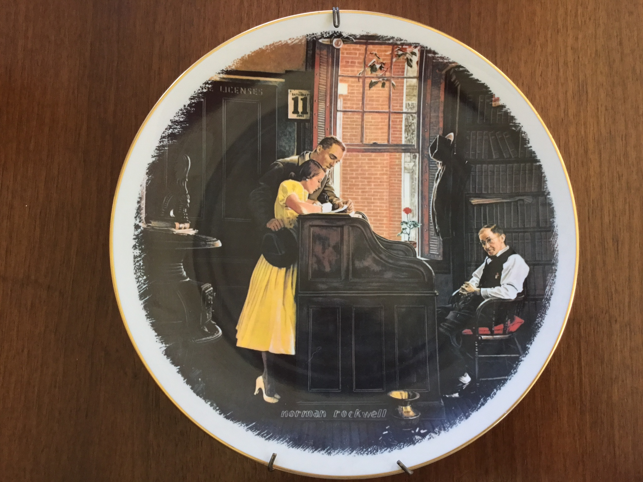 Gorham Decorative Plate, The Marriage License by Norman Rockwell