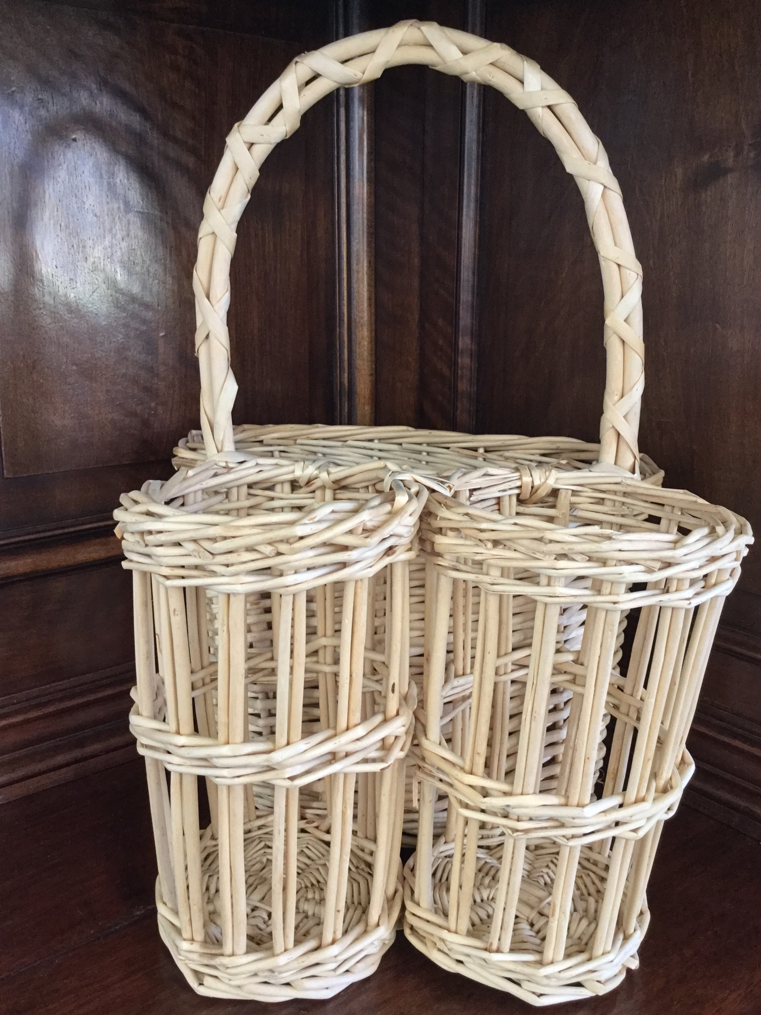 Wicker Wine and Cheese Tote