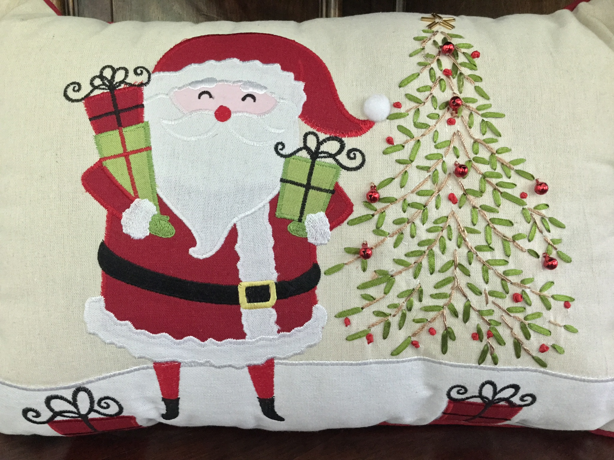 """Santa with Gifts"" Pillow"
