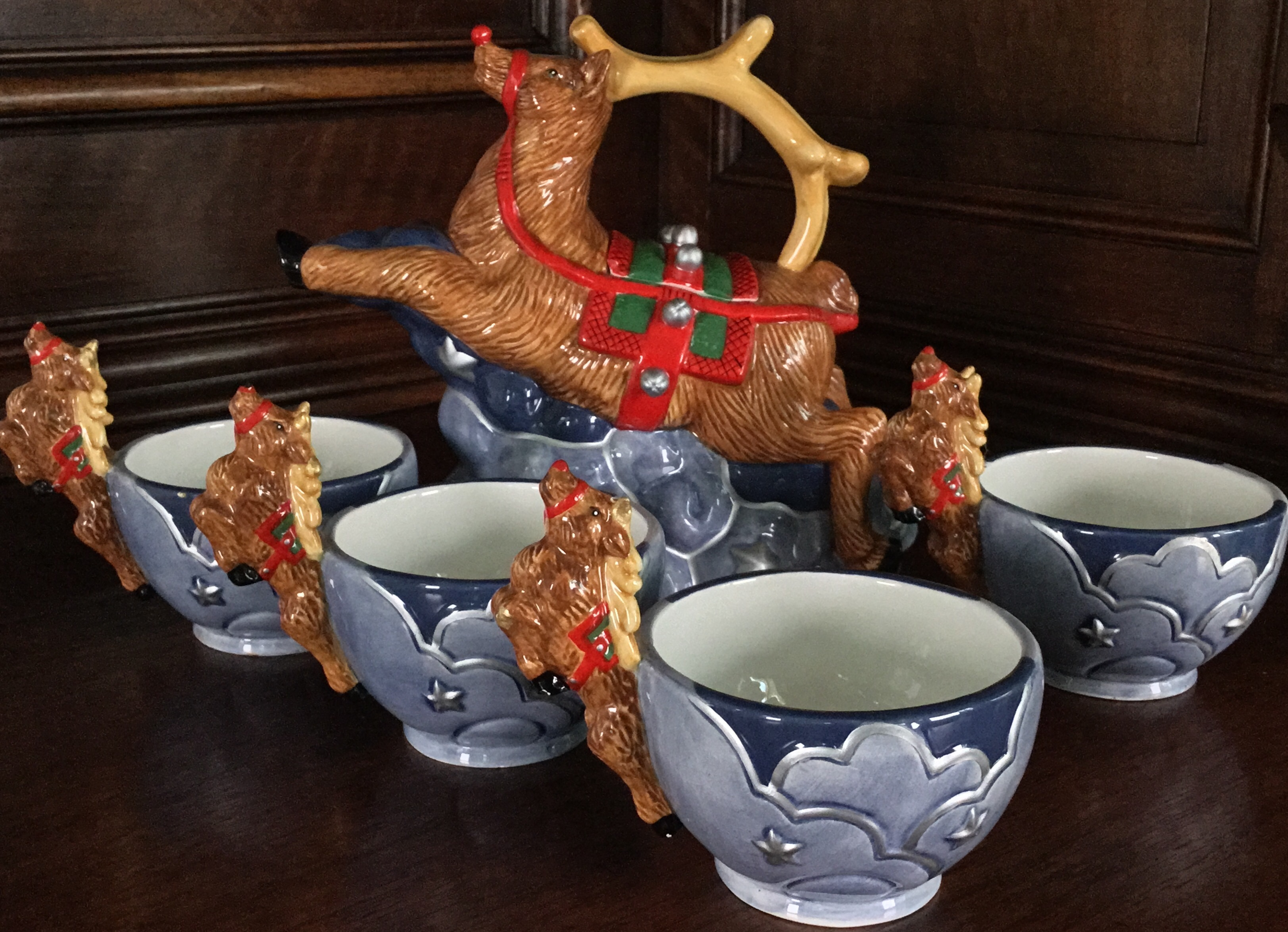 "Department 56 ""Reindeer"" Tea Set, 5 Pieces"