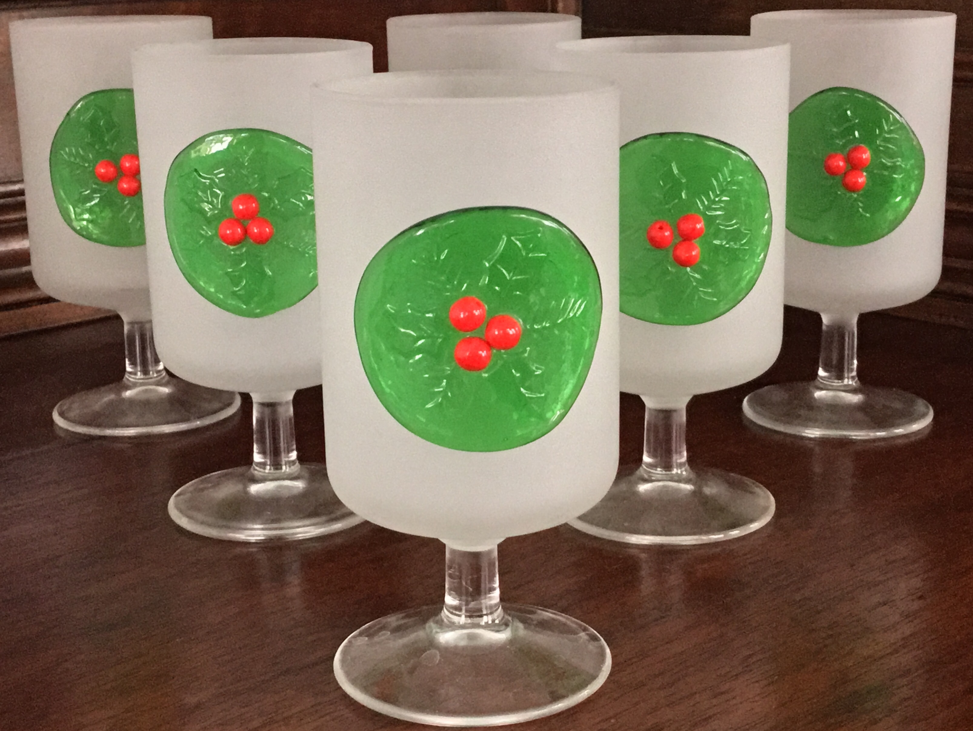 "Frosted ""Holly"" Glasses, Set of 6"