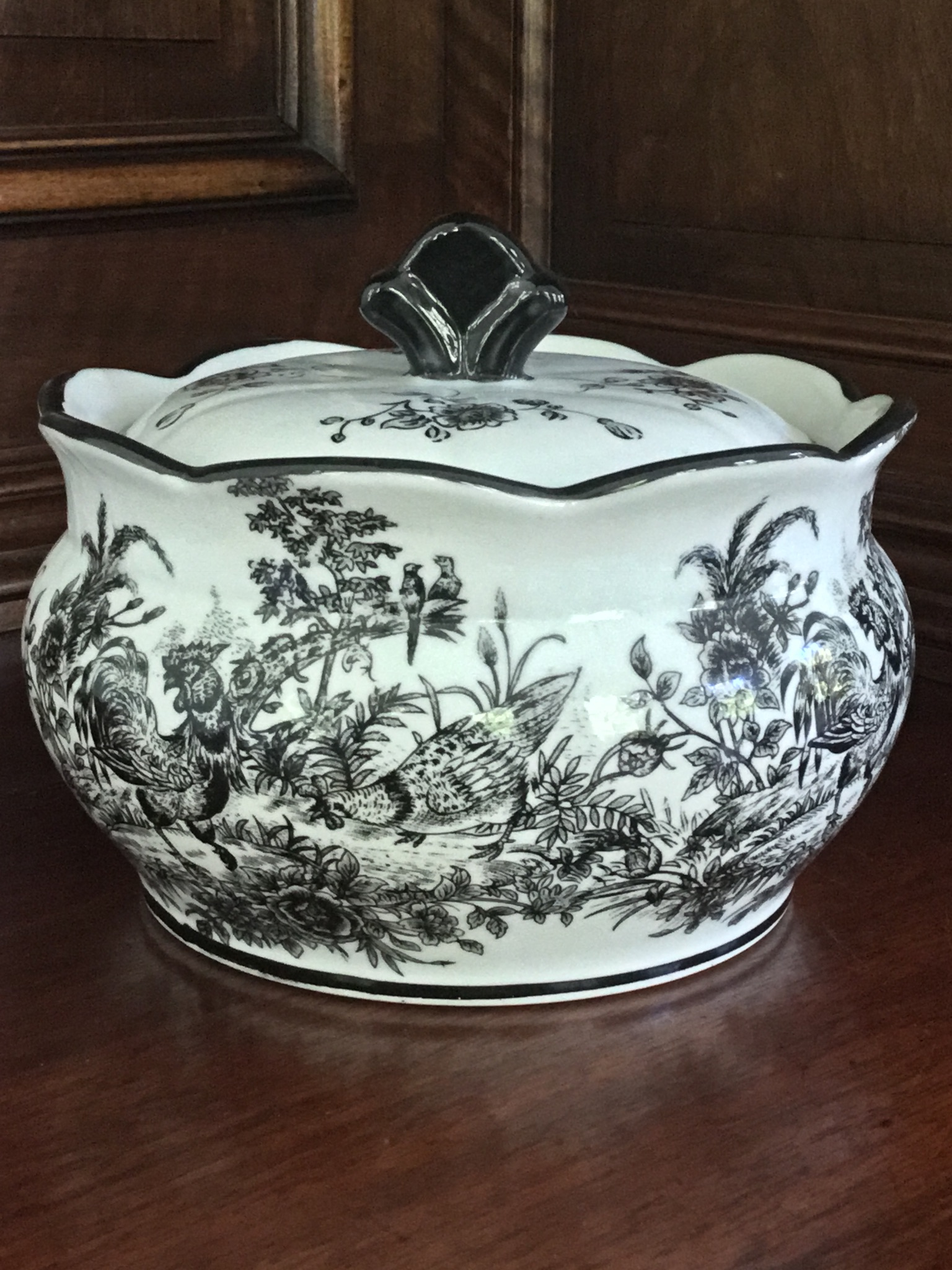 "Black and White ""Rooster"" Bowl with Lid"