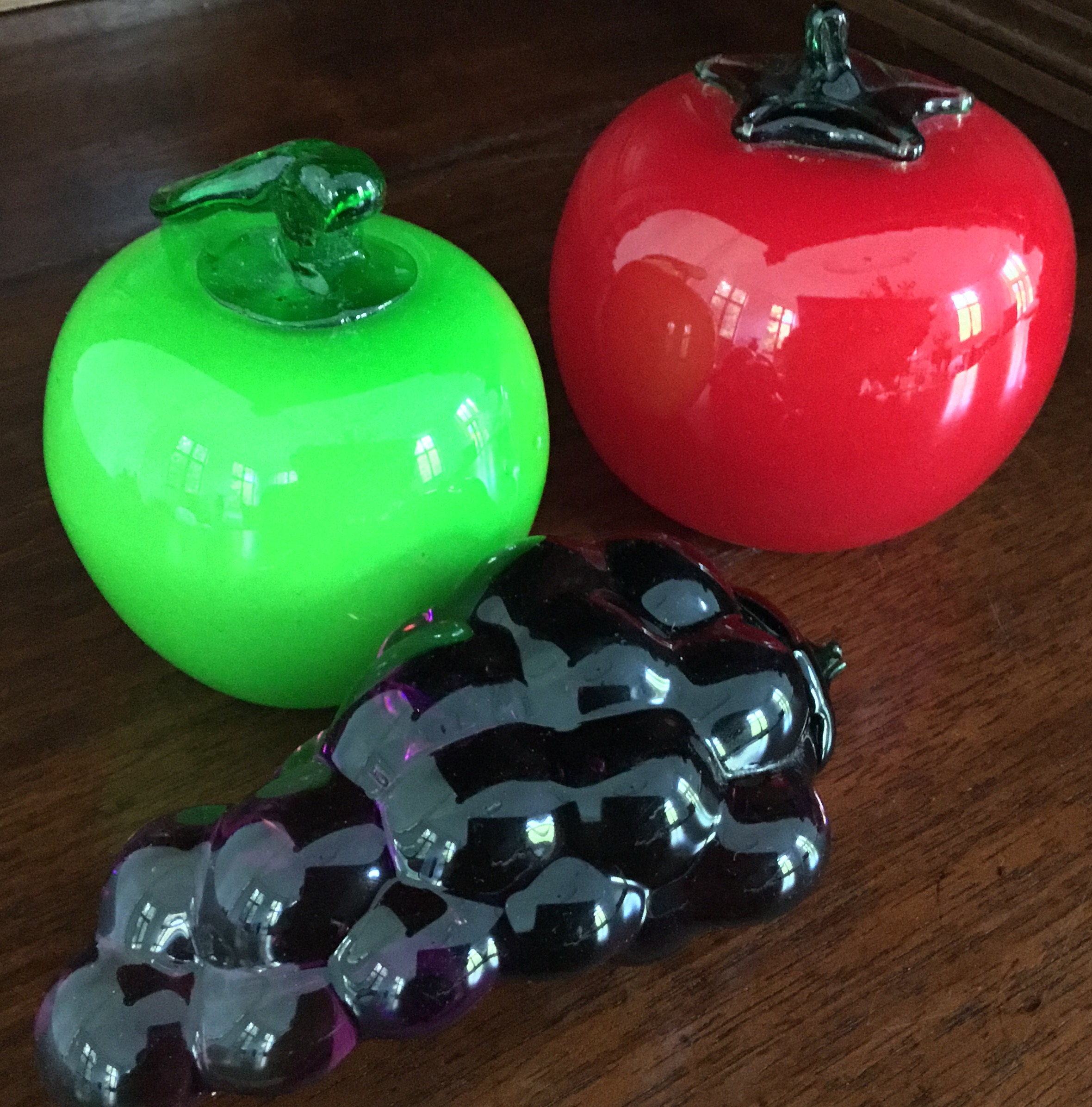 Glass Tomato, Apple, and Grapes