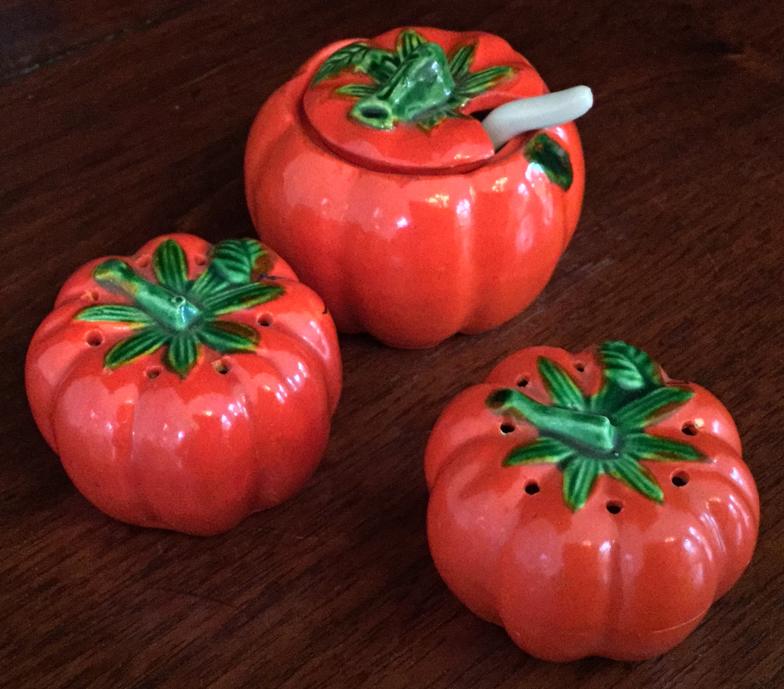 "Miniature ""Tomato"" Salt, Pepper, and Sugar Set"