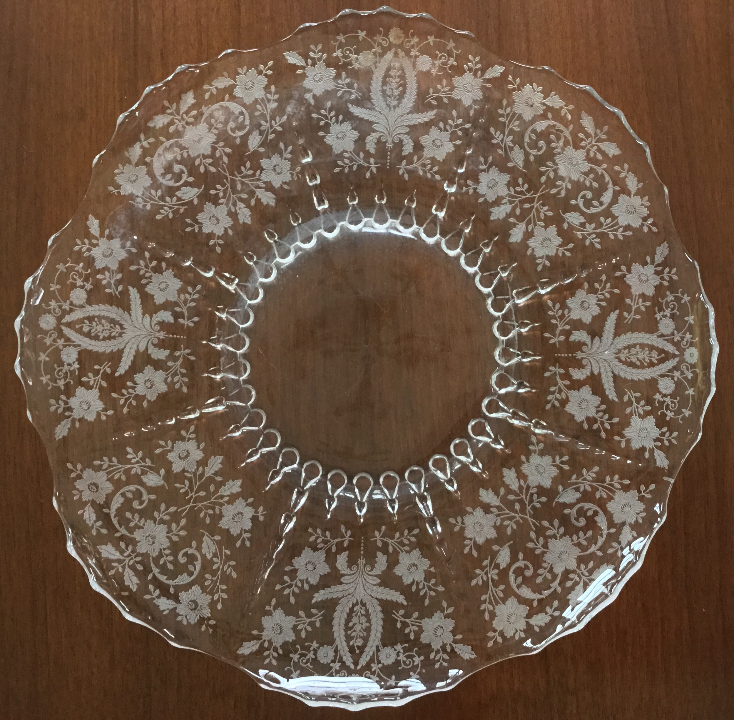 Large Glass Etched Platter