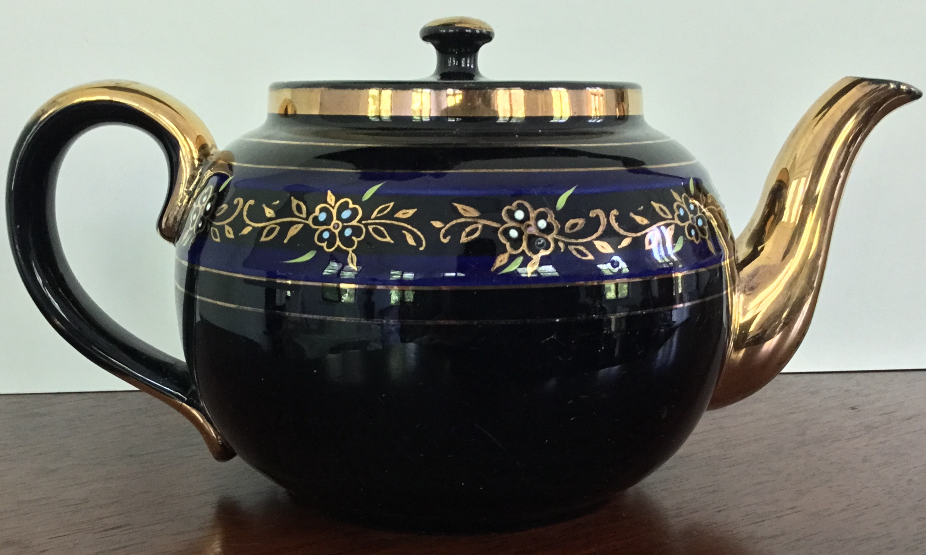 Blue and Black Teapot, Made in England
