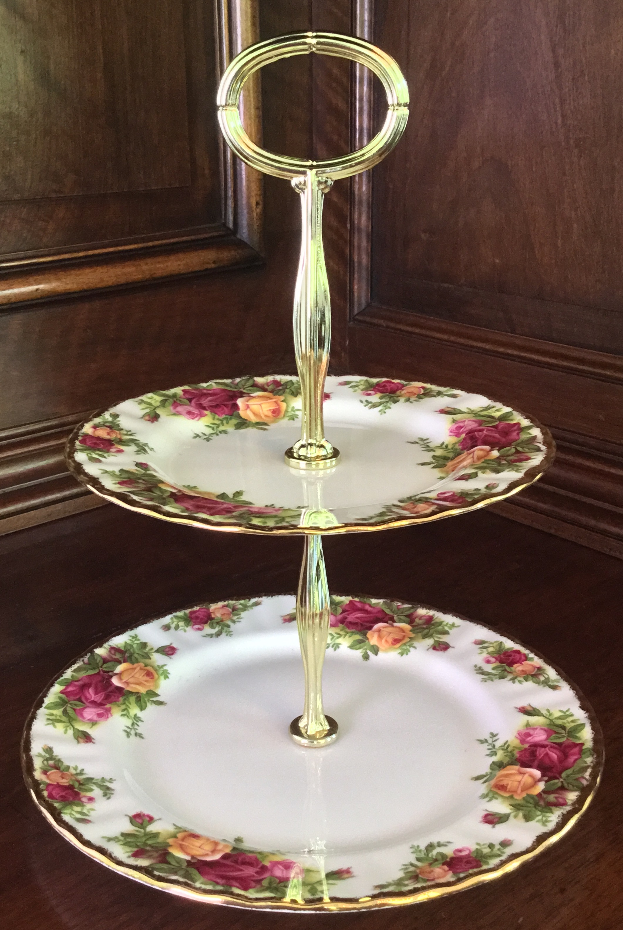 Royal Albert Old Country Roses Two-Tiered Dessert Tray