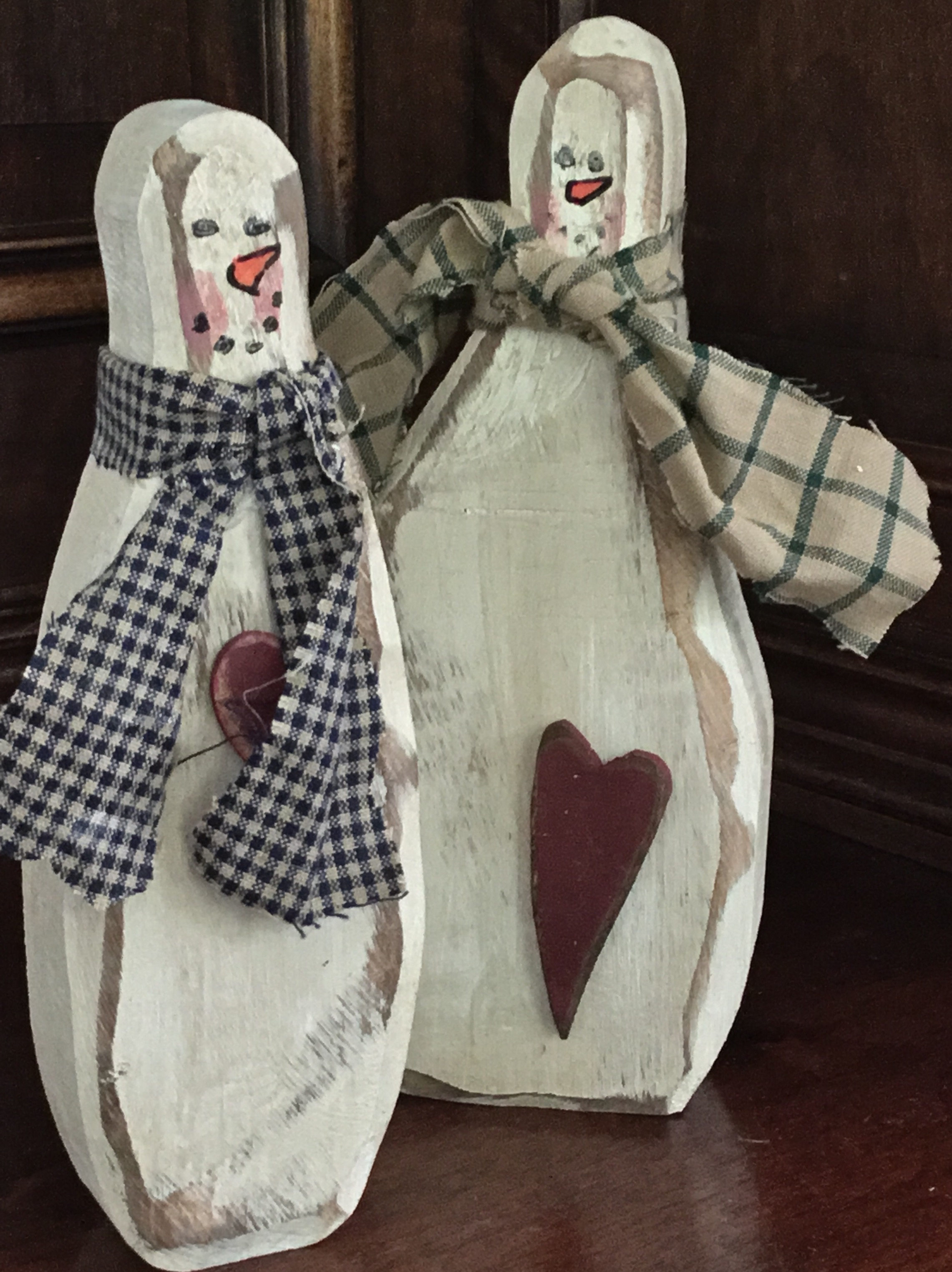 Wooden Snowmen, Set of 2