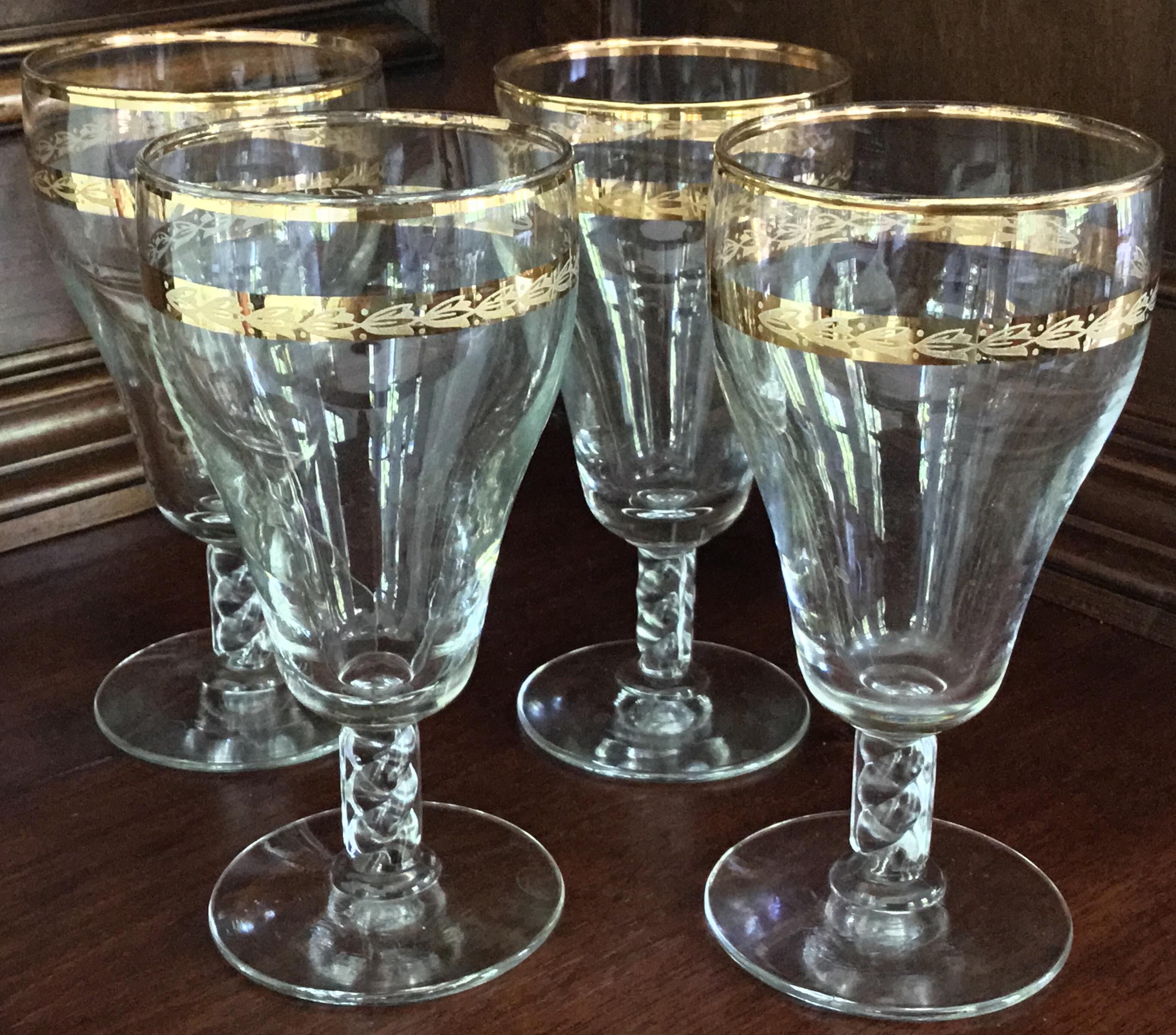 Gold Trim Etched Water Glasses, Set of 4