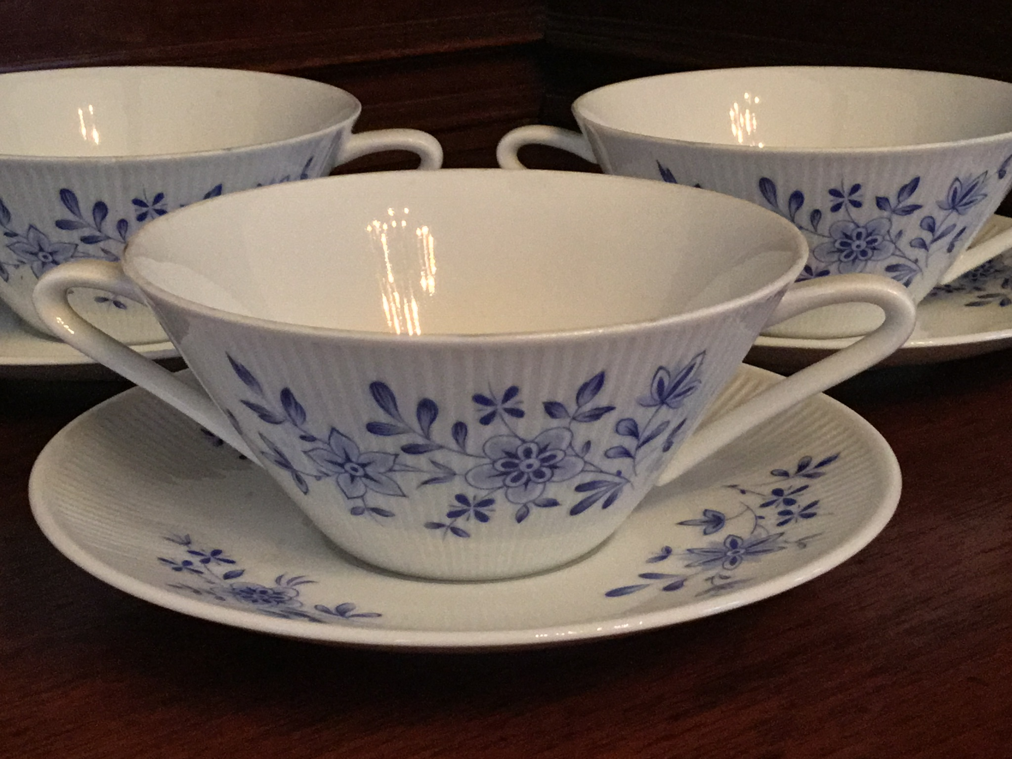 Winterling Double-Handled Soup Bowls with Saucers, Set of 3