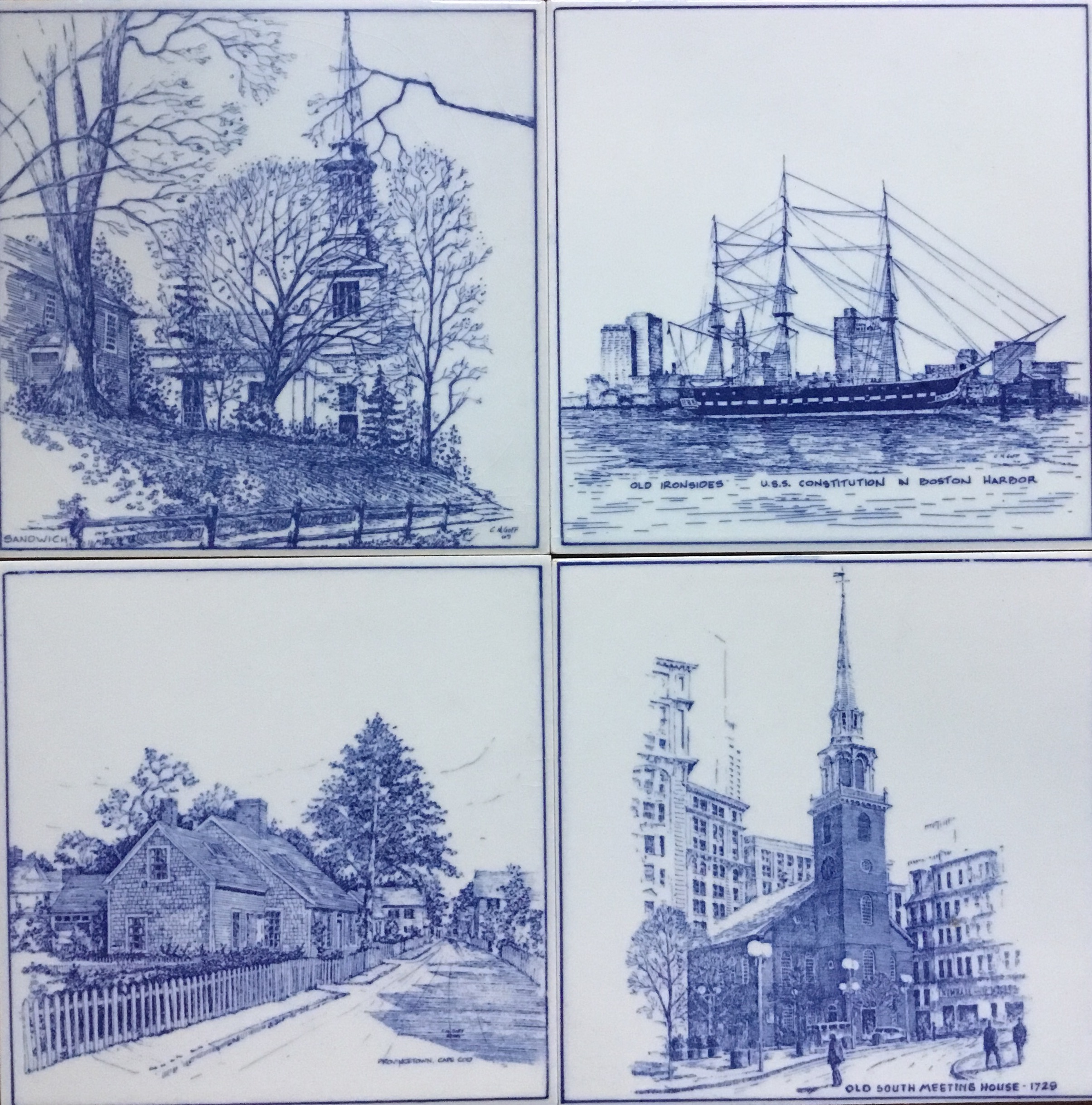 J. Coughlin Delfts Blue Boston Scenes, Set of 4