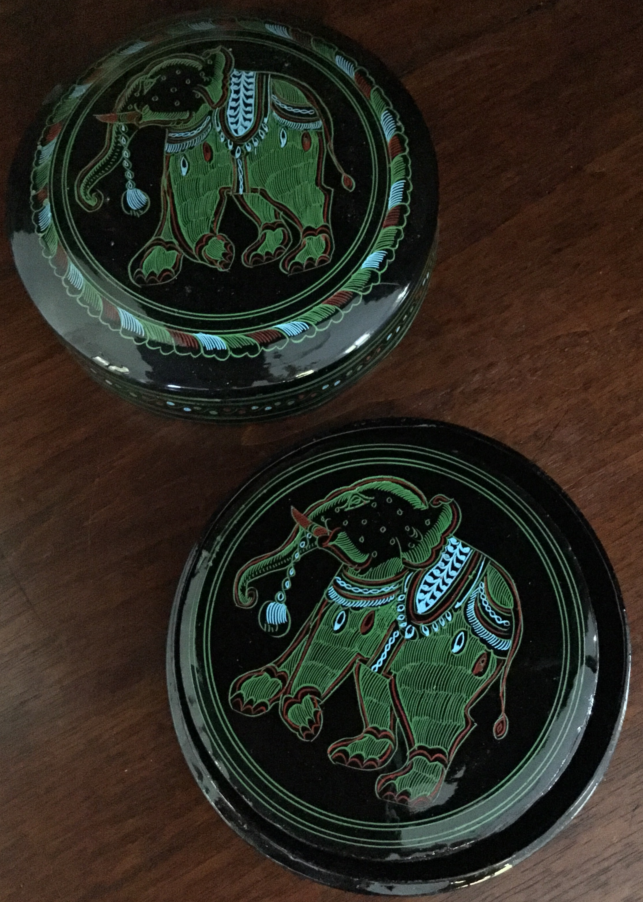 "Laquer ""Elephant"" Coasters and Case"