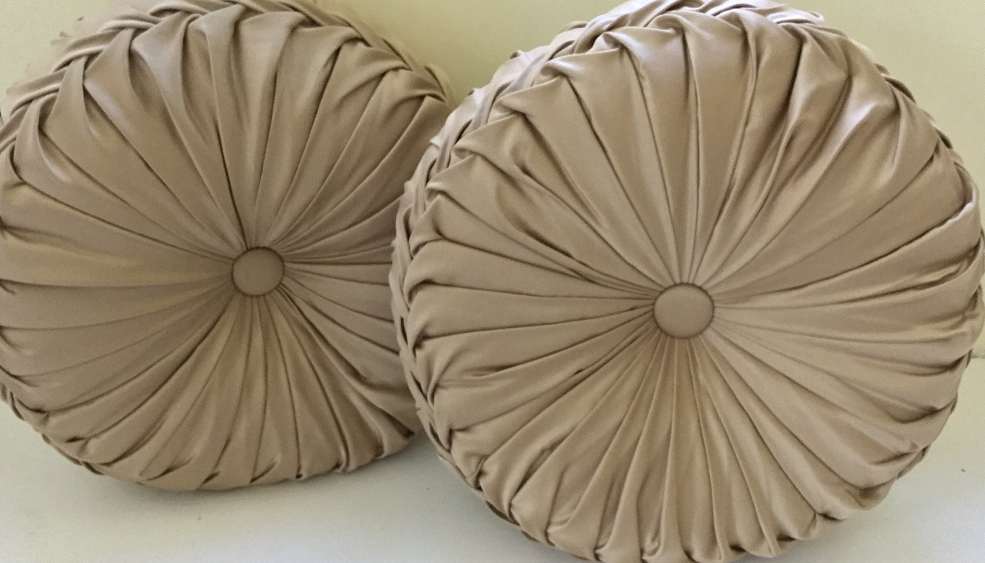 Tan Round Pleated Pillows, Set of 2