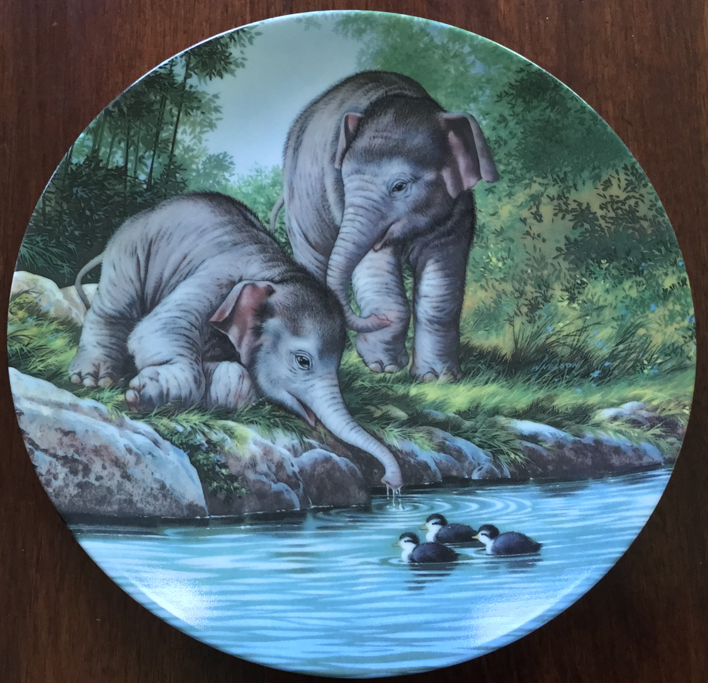 WL George, Curiosity Asian Elephants Plate