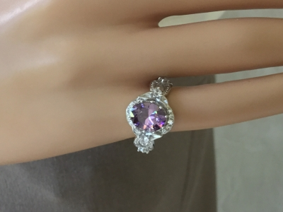 Purple Stone Ring, Size 6 1/2