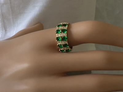 Green and Crystal Ring, Size 8 1/2