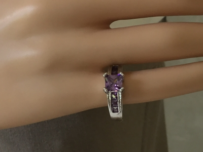 Purple and Crystal Ring, Size 6 1/2