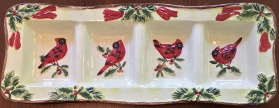 Certified International Cardinal Serving Tray
