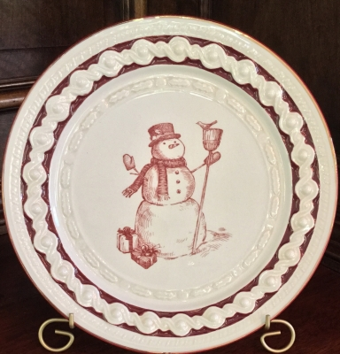 Grasslands Road Snowman Plate and Stand