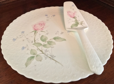 Mikasa April Rose Cake Platter and Server