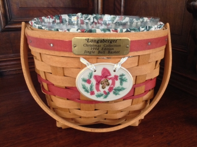 1994 Longaberger Jingle Bell Christmas Basket and Plaque, with Fabric Insert and Plastic Insert