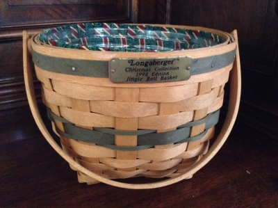 1994 Longaberger Jingle Bell Basket with Fabric Insert and Plastic Insert