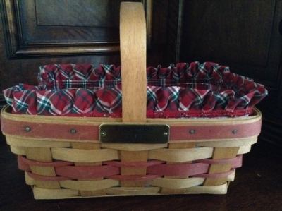 1990 Longaberger Gingerbread Basket with Fabric Insert and Plastic Insert