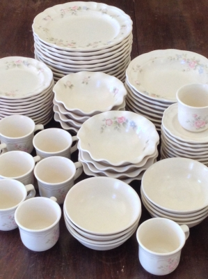 Pfaltzgraff Tea Rose Dinnerware, 73 Pieces